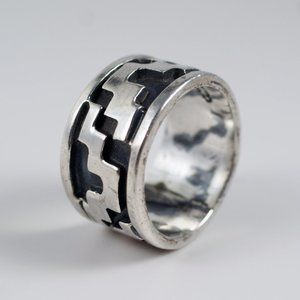 Vintage Taxco Oxidized Sterling Silver Ring Band